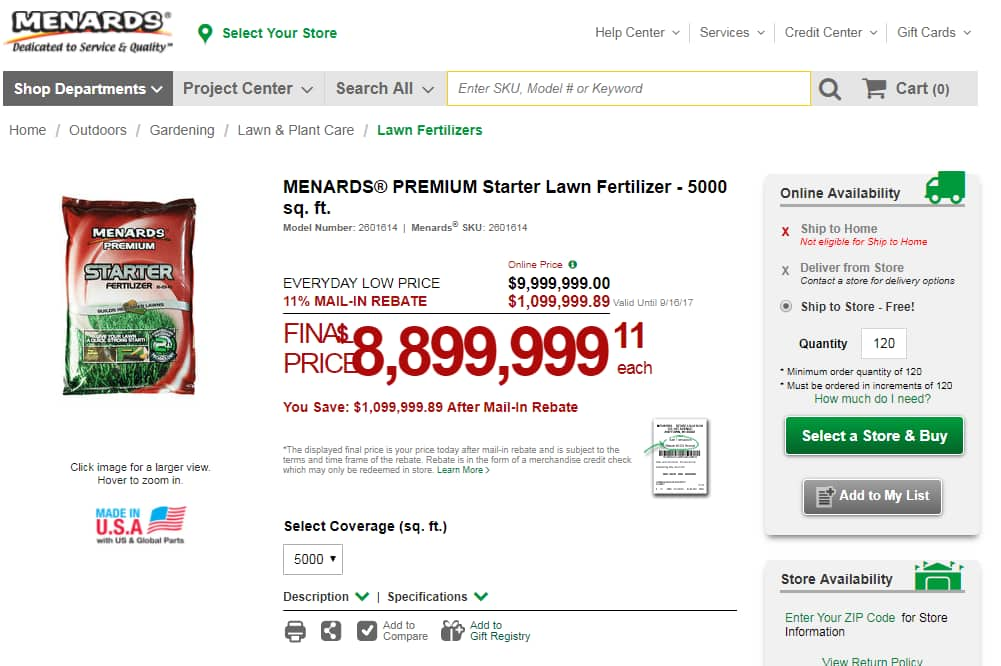 Menards Fertilizer Sale - Save $1,099,999.89 After Mail in Rebate !!