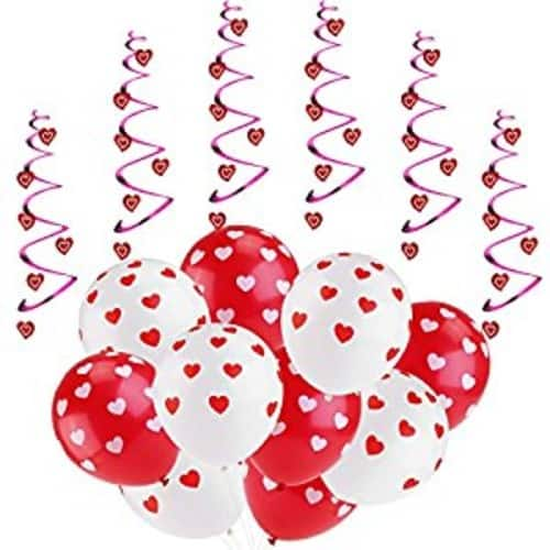 ROSENICE Valentines Heart Balloons for Valentines Day Decorations Supplies, 6pcs Hanging Hearts and 20pcs Balloons $4.99