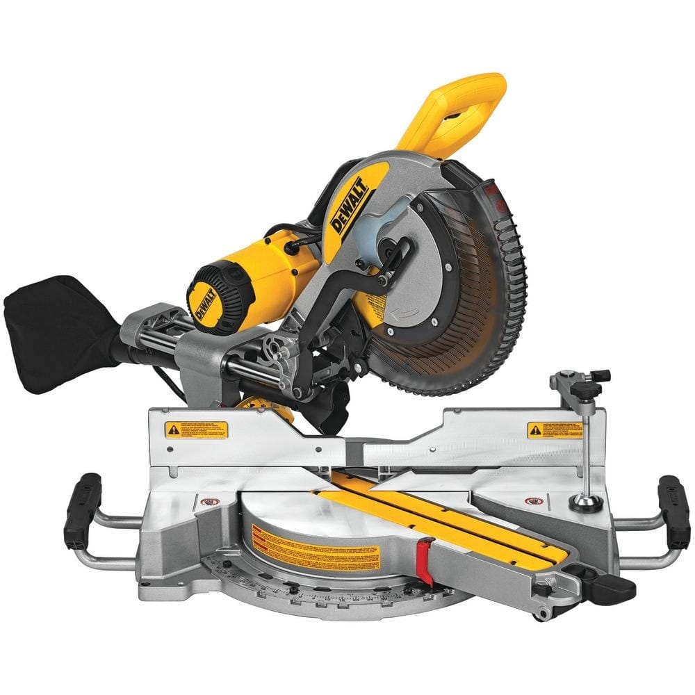 DEWALT 15 Amp Corded 12 in. Double Bevel Sliding Compound Miter Saw, Blade Wrench & Material Clamp-DWS779 - $399