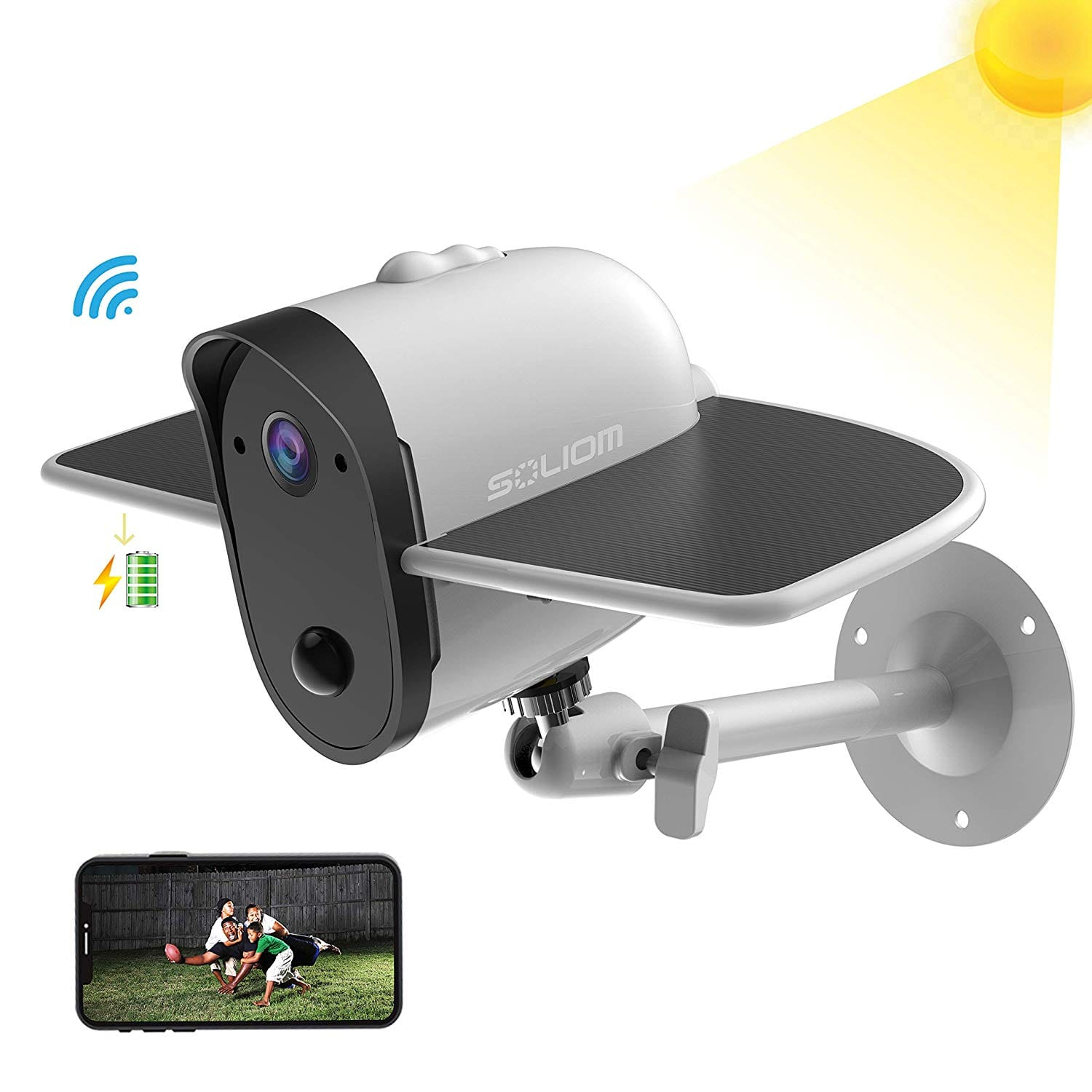 SOLIOM S60 Solar Battery Powered Security Camera. 1080P Home Wireless IP Cam with Accurate Motion Detection $67