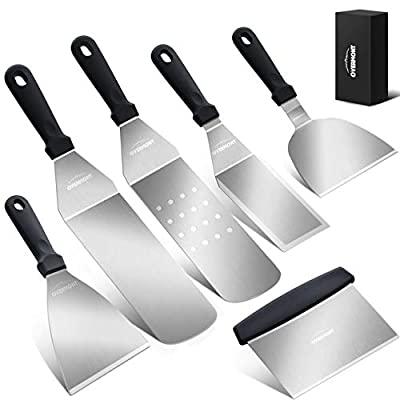 $13.49 -Overmont 6 Piece Griddle Kit Professional Grill Spatula & Scraper Set