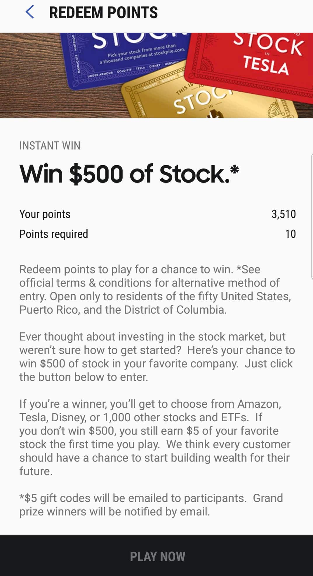 Samsung Pay  Free $5 worth of stock through Stockpile.com for 10 points. Possible YMMV