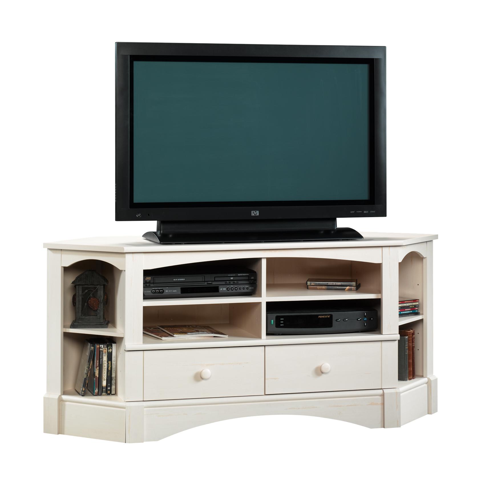 "Sauder Harbor View Corner Entertainment Credenza, For TVs up to 60"", Antiqued White finish $125 on Amazon/Walmart"