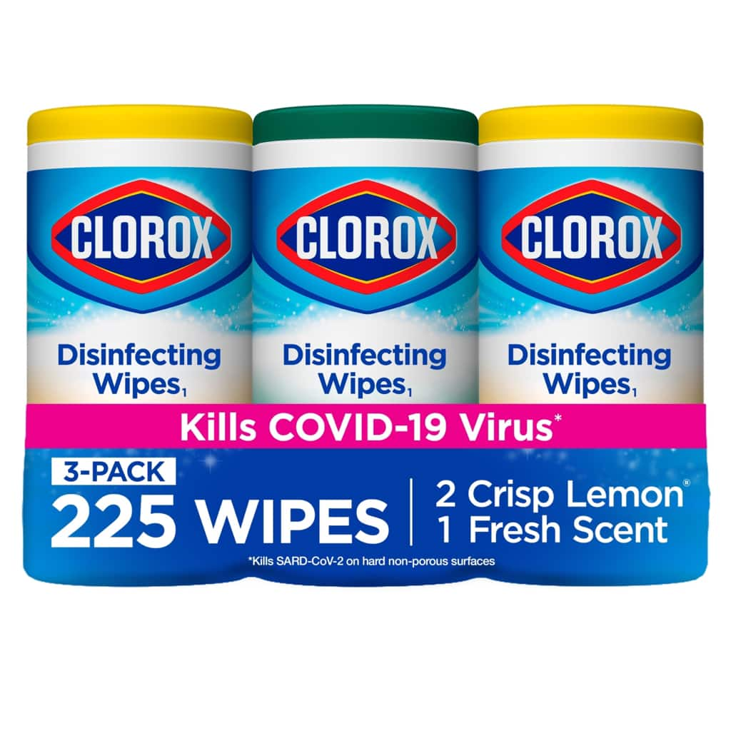 Clorox Disinfecting Wipes, (225 Count Value Pack), Crisp Lemon and Fresh Scent - 3 Pack - 75 Count Each - Walmart.com - $9.99