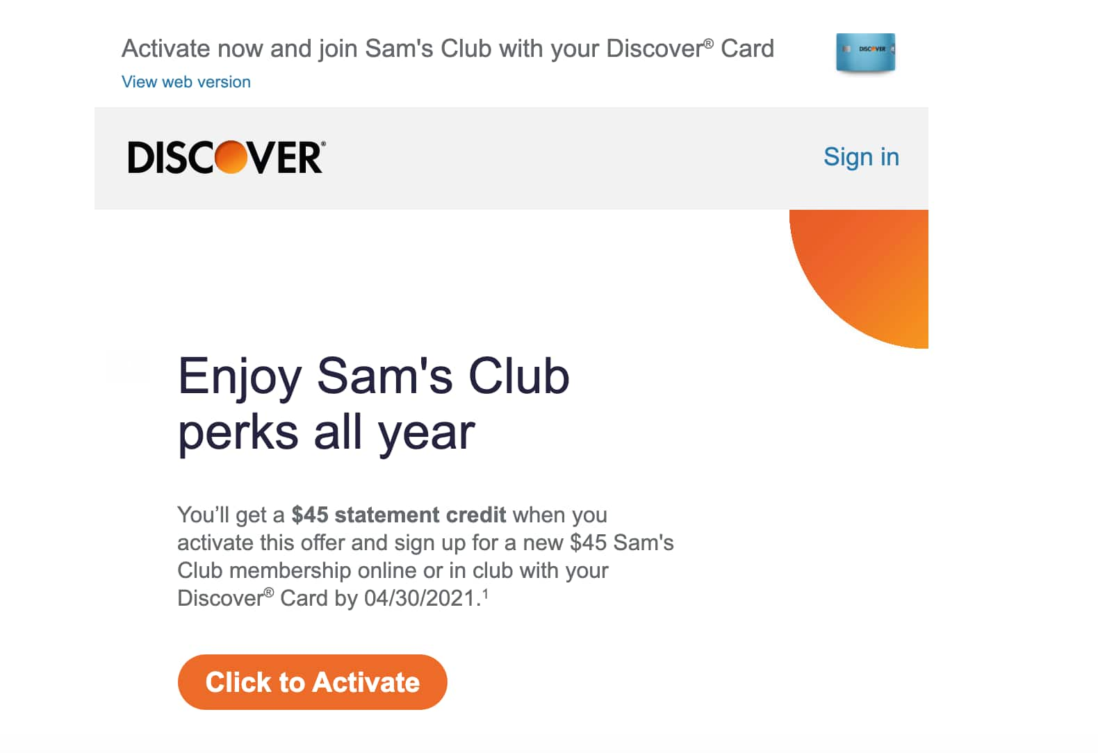 Sam's Club Membership $45 cashback $45