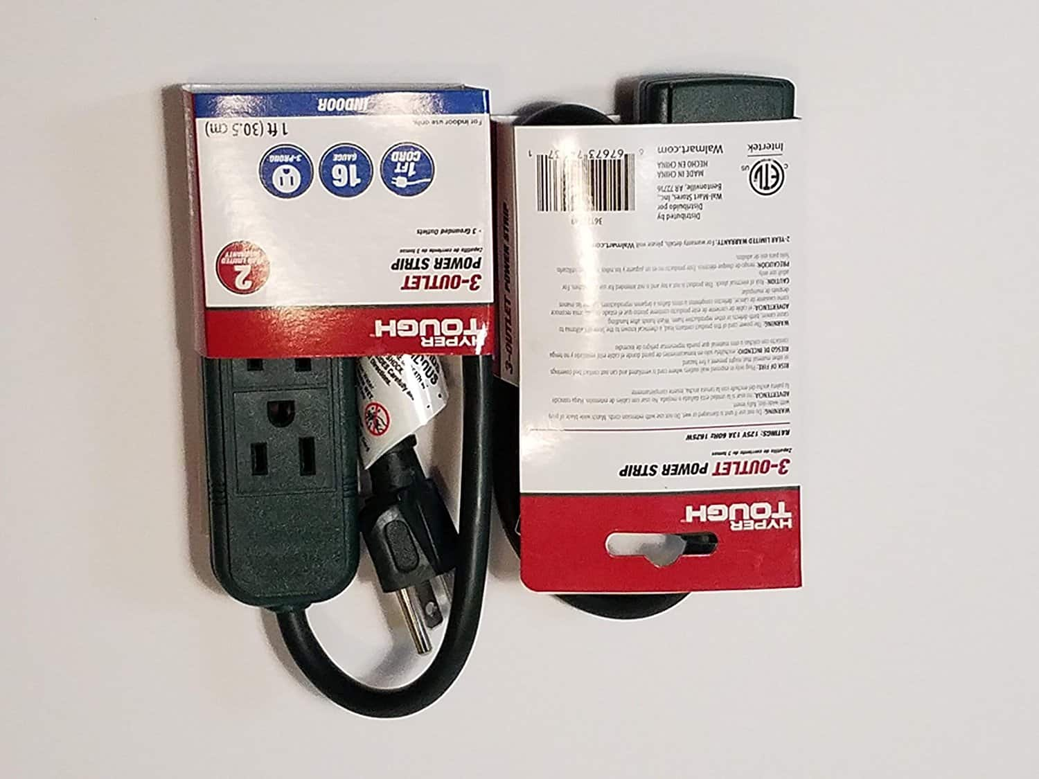YMMV In Store Walmart Hyper Tough 3-Outlet Power Strip, 16 Gauge, 1ft Cord $0.10