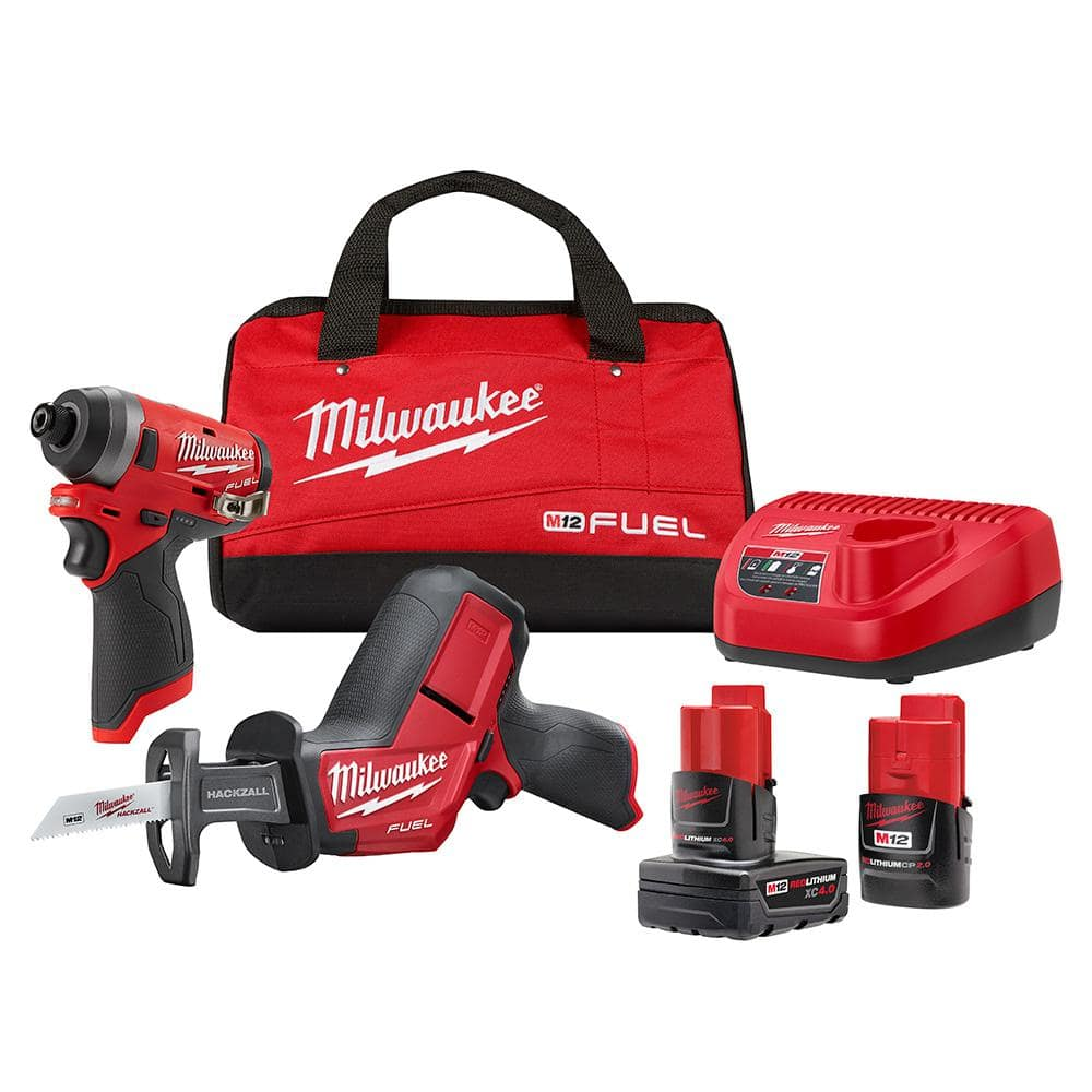Milwaukee M12 FUEL 12-Volt Lithium-Ion Brushless Cordless Hackzall and Impact Driver Combo Kit (2-Tool) with 2-Batteries and Bag