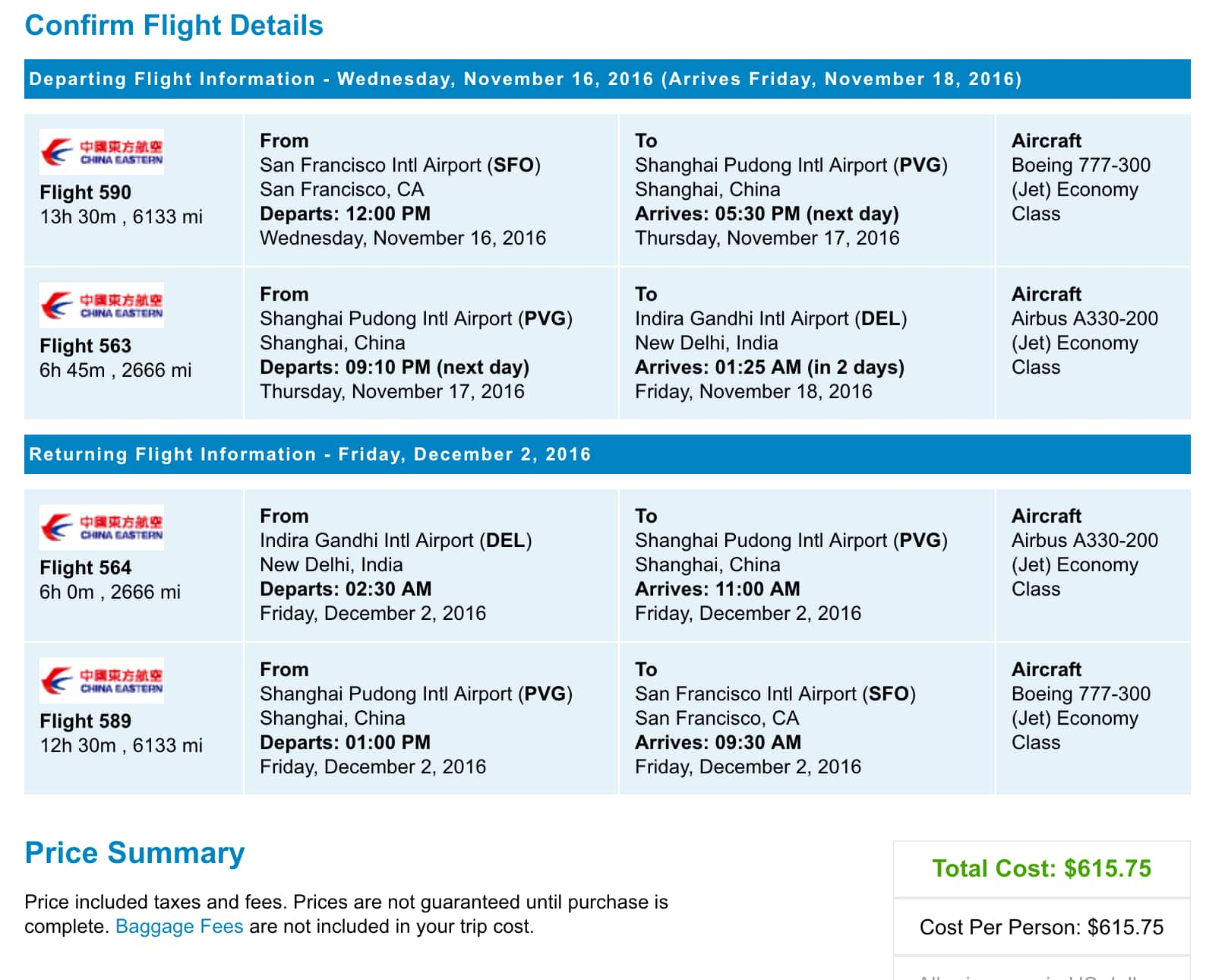 Roundtrip Flight: Selected US Cities to New Delhi (India) Sales (priceline.com) from $586.75 tax incl