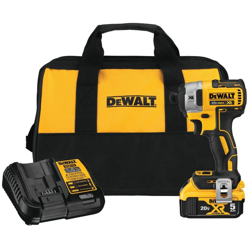 Dewalt 20v Brushless Drill/Driver OR Impact Driver with 5 ah battery/charger/bag - $129 - Home Depot