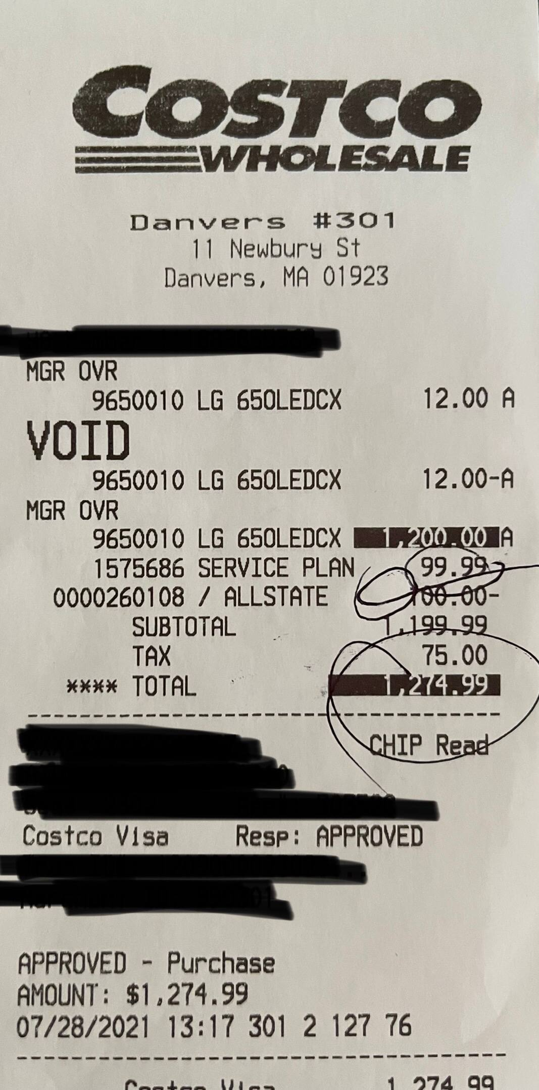 LG OLED65CXPUA w/ 3 year Allstate for $1199.99 @ Costco in-store display model YMMV