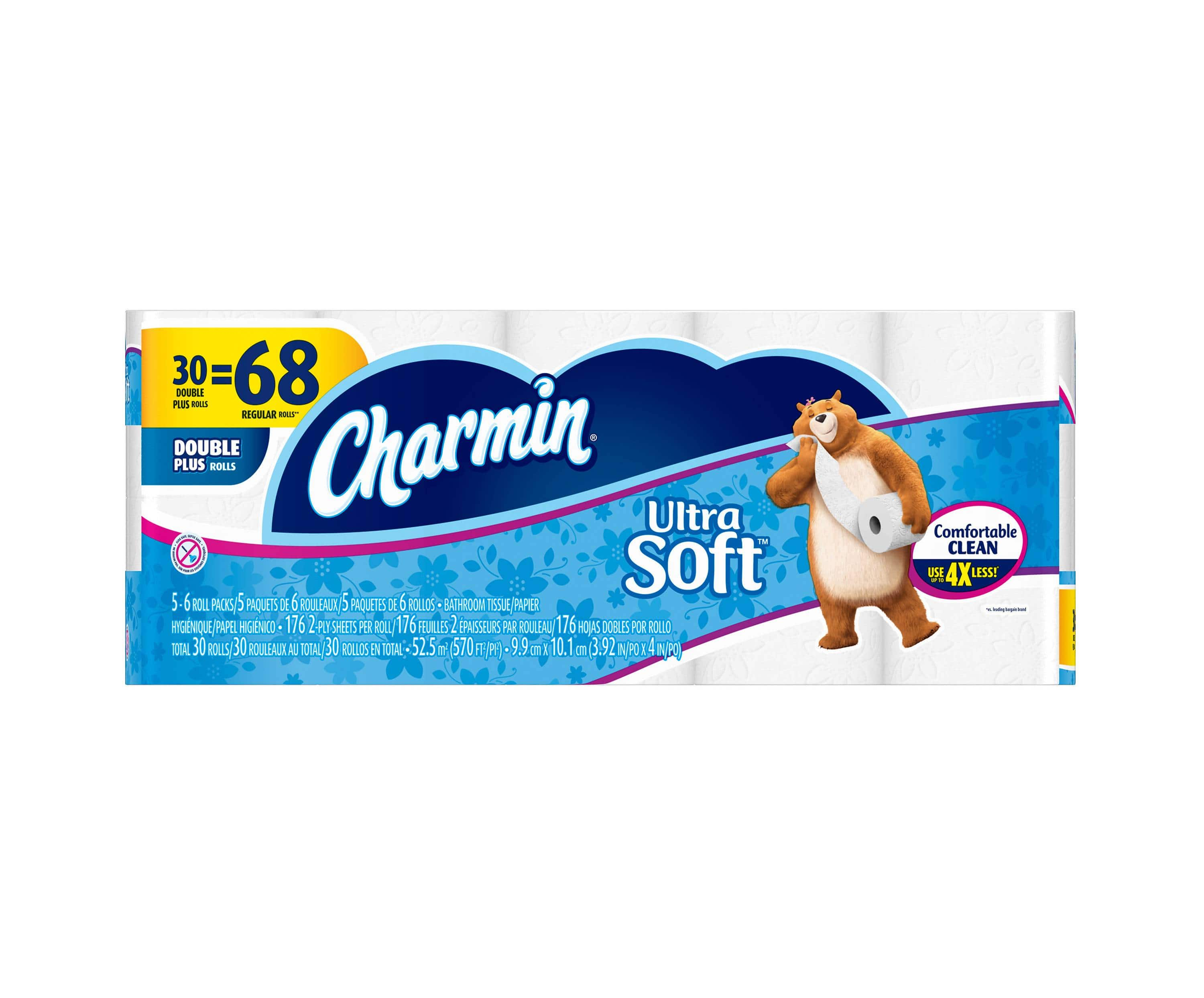 90 Ct Charmin Ultra Soft Double Plus Roll Toilet Paper 10