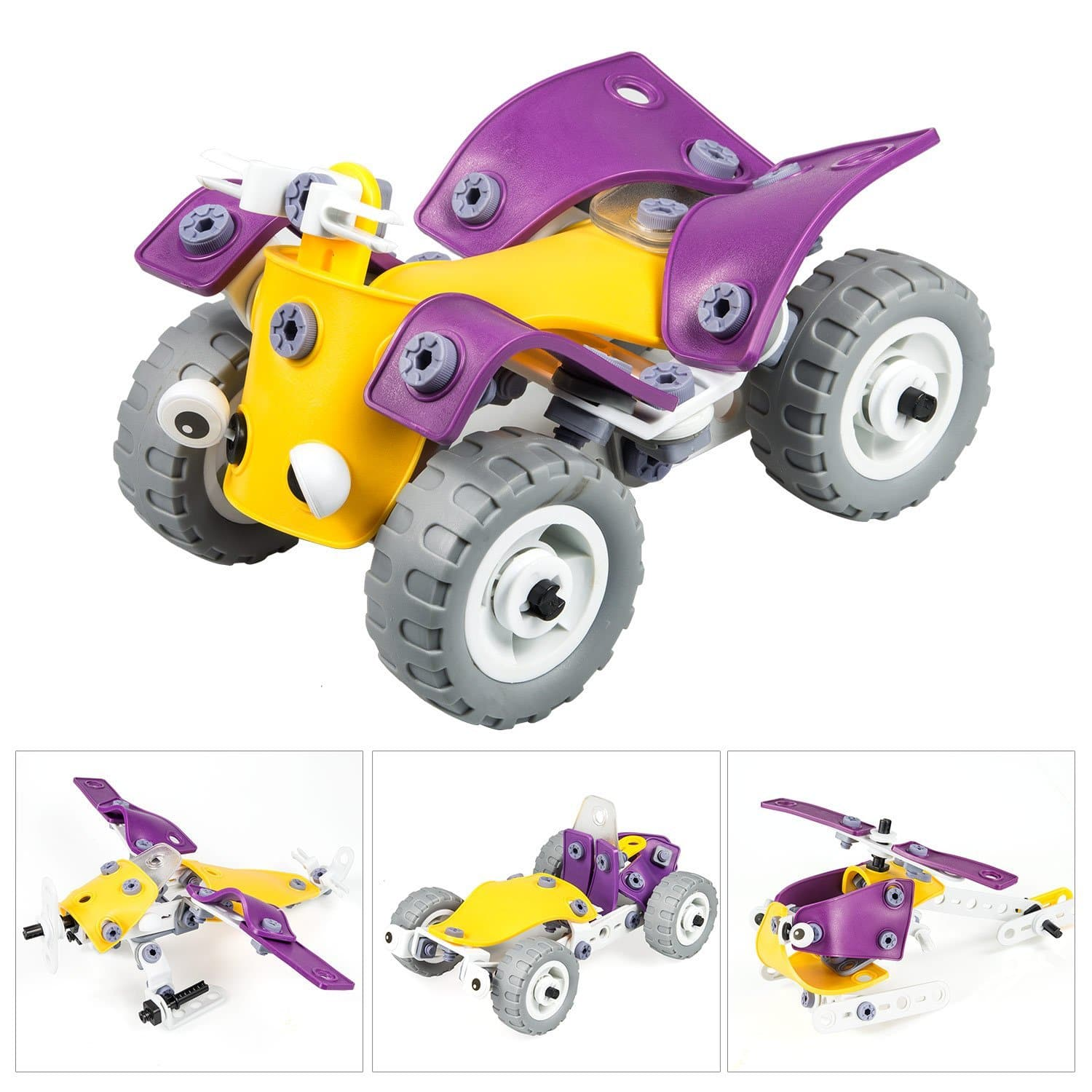 Elover Assembled puzzle Toys-Elover 4 in 1 Building Toys DIY Toys Set Model Cars Motorcycle Helicopter, Gift Concept Toys for kids over 5 years old (100pcs) $13.29
