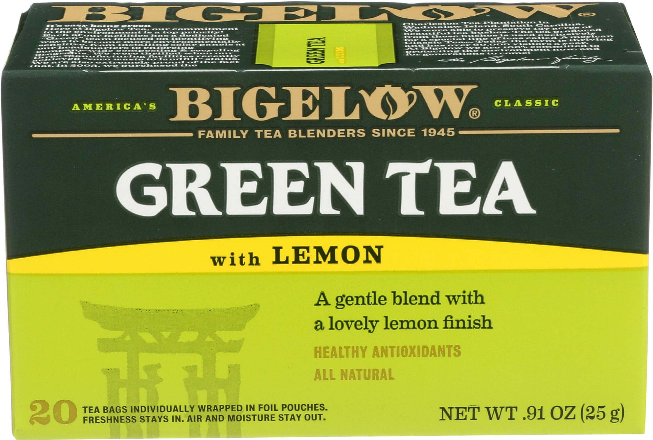 Bigelow, Green Tea With Lemon (Caffeinated), 20 Count pack of 6 (120 bags total) for $2.67 with free prime shipping at Amazon