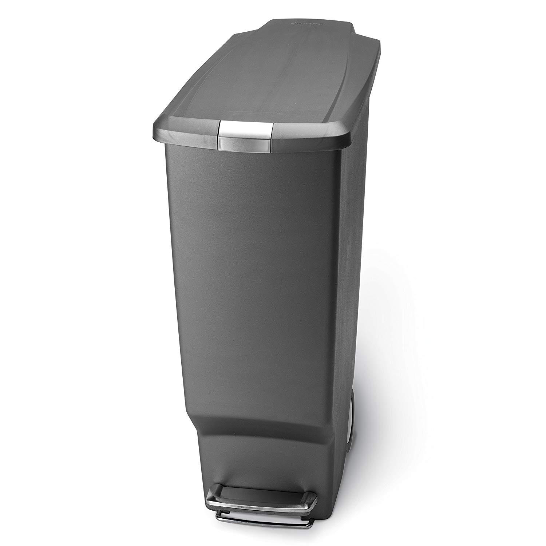 simplehuman 40 Liter / 10.6 Gallon Slim Kitchen Step Trash Can, Grey + FSSS @ Amazon $31.99