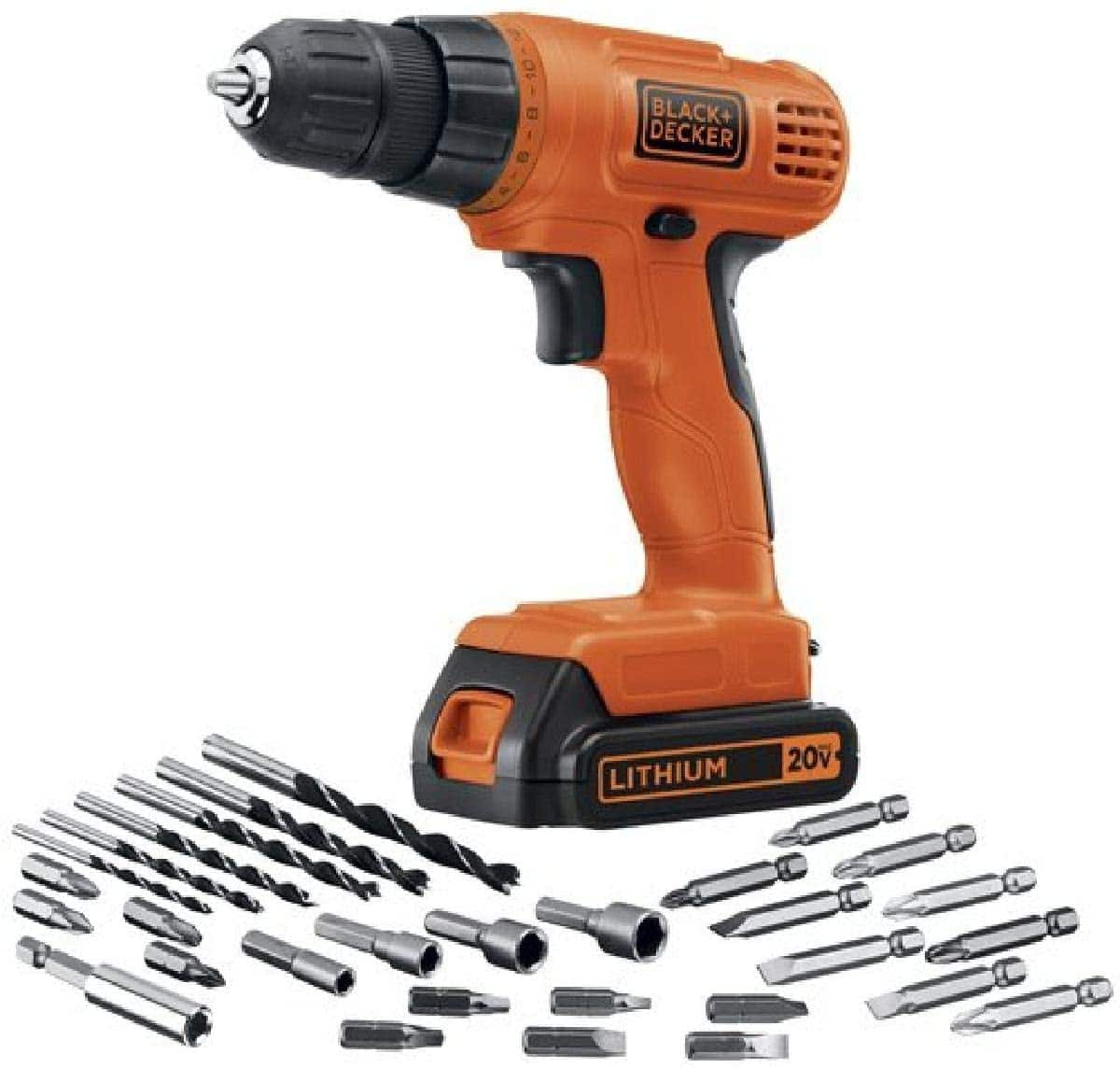 Deal of the day for Prime Members: BLACK+DECKER 20V Max Cordless Drill / Driver with 30-Piece Accessories (LD120VA) - $39.00