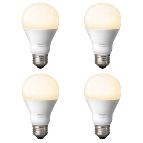Phillips Hue White Dimmable 60W A19 Gen 3 Smart Bulbs (Refurbished) - 4-Pack $27.99