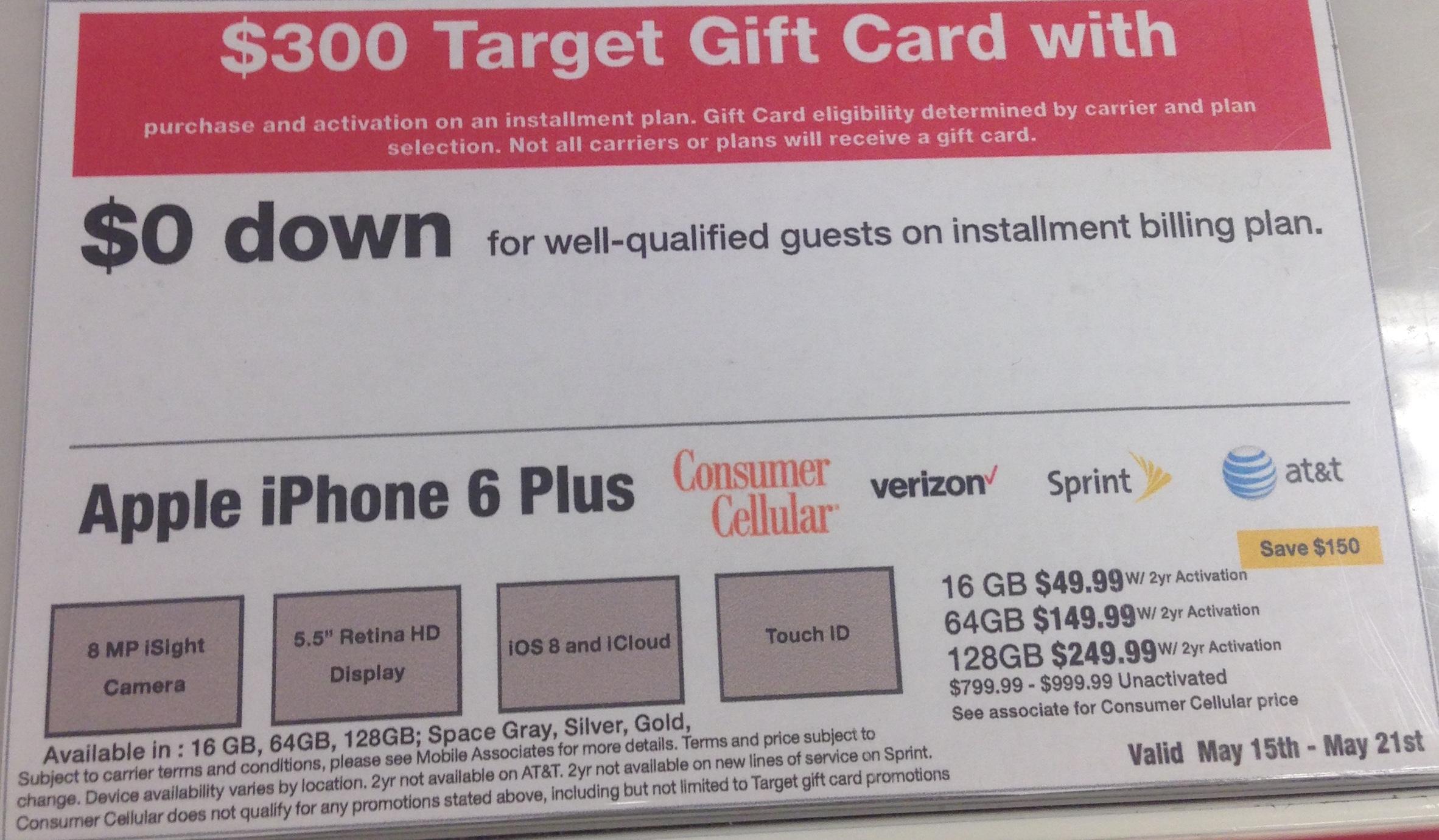 iPhone 6/6 Plus: $250/$300 Target Gift Card on Installment Billing Plan