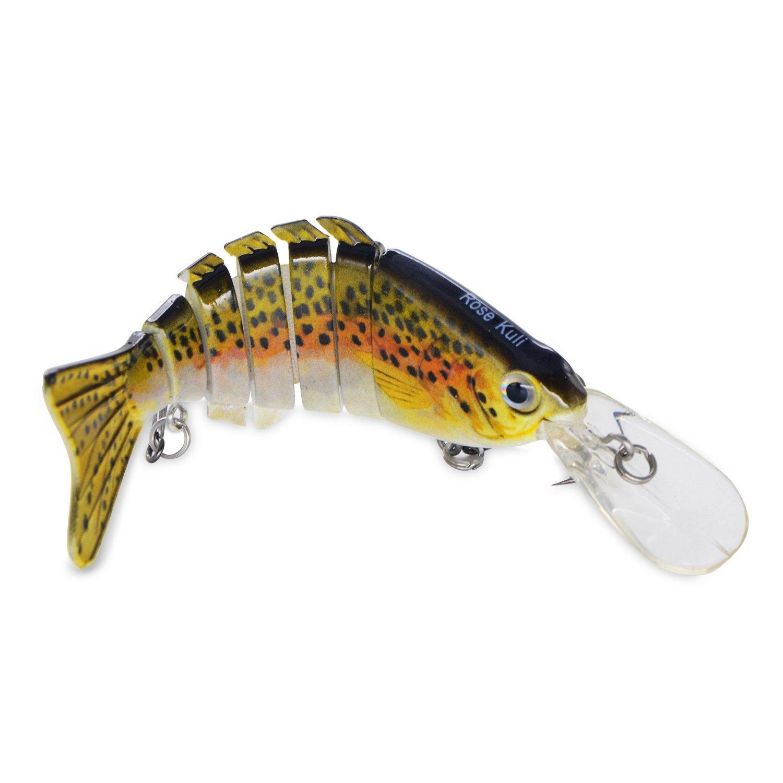 ROSE KULI Life Like Hard Body Swim Multi Jointed Hard Fishing Lure Hook, Size #6 $3.99