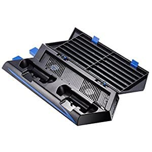 Zacro PS4 Nonslim Vertical Stand Cooling Fan Dual Charging Station for Playstation 4 DualShock 4 Controllers, with 2 USB HUB Charger Ports and 14 Disc Storge Manager  for $9.87 AC