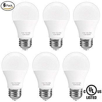 ( 6-Pack) A19 LED Light Bulb,100 Watt Equivalent (11W),Daylight (5000K)  $13.99 AC