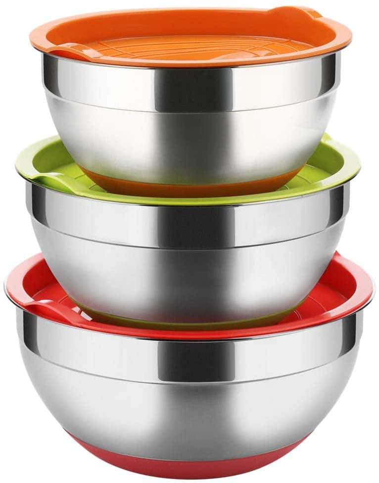 Stainless Steel Mixing Bowls with Lids (Set of 3) $17.98 at Amazon