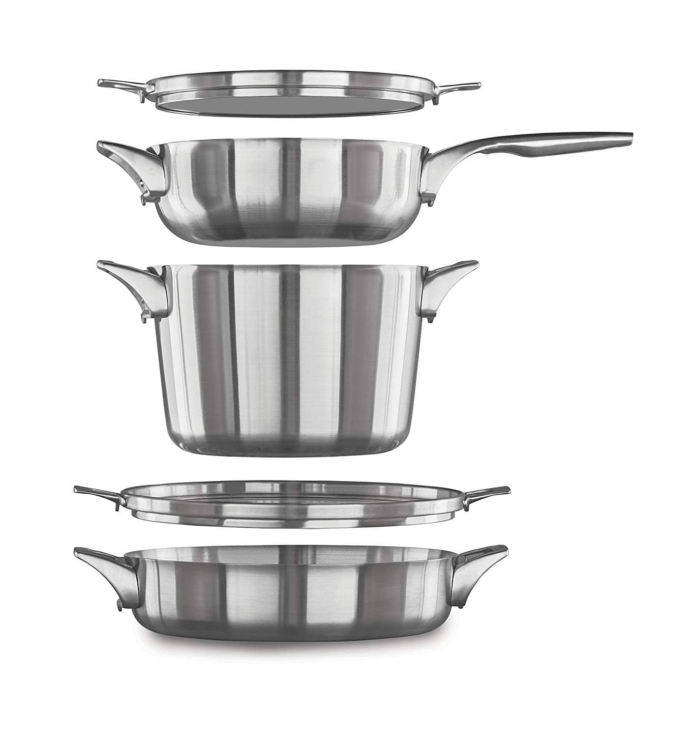 calphalon premier 5 pc space saving stainless steel supper club set