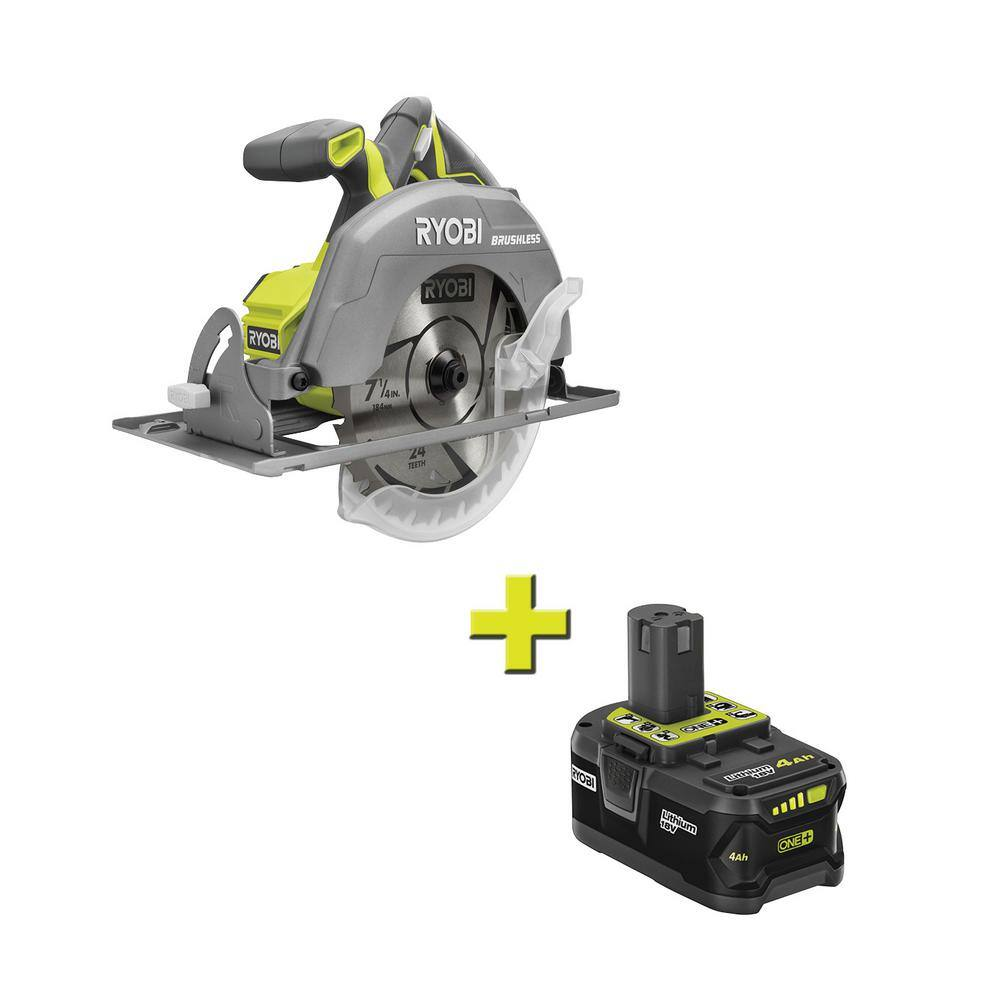18-Volt ONE+ Cordless Brushless 7-1/4 in. Circular Saw with 4.0 Ah Lithium-Ion Battery FREE SHIPPING $118.99