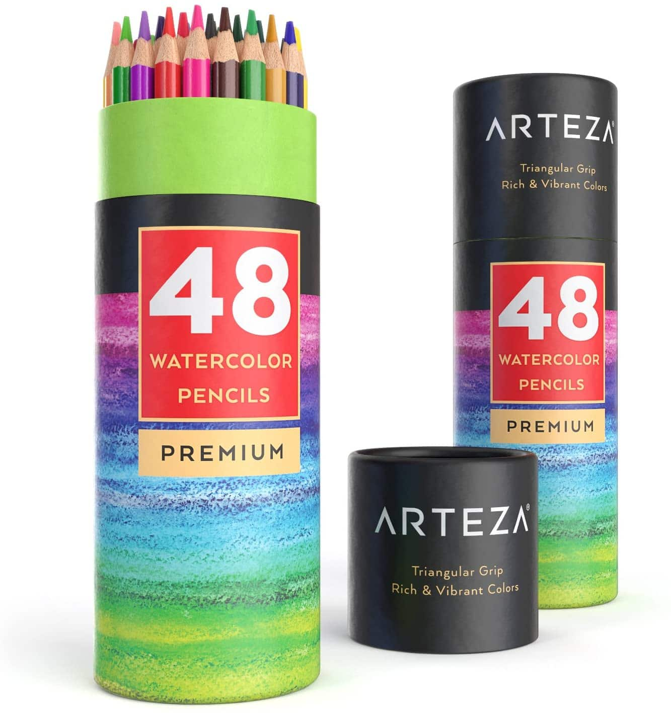Arteza Watercolor Pencils Set of 48, Presharpened, Triangular-Shaped Colored Pencils for Adults and Teens $10.87 at Amazon