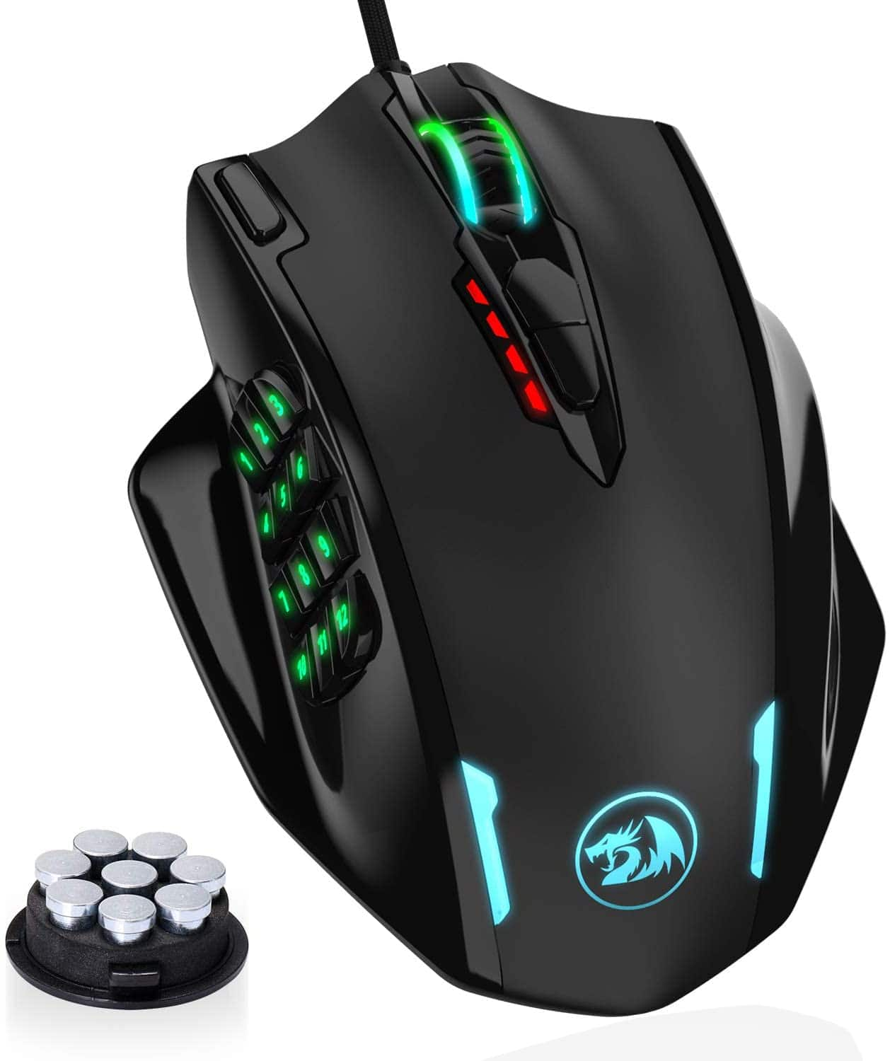 Redragon M908 Impact RGB LED MMO Mouse with Side Buttons $26.31