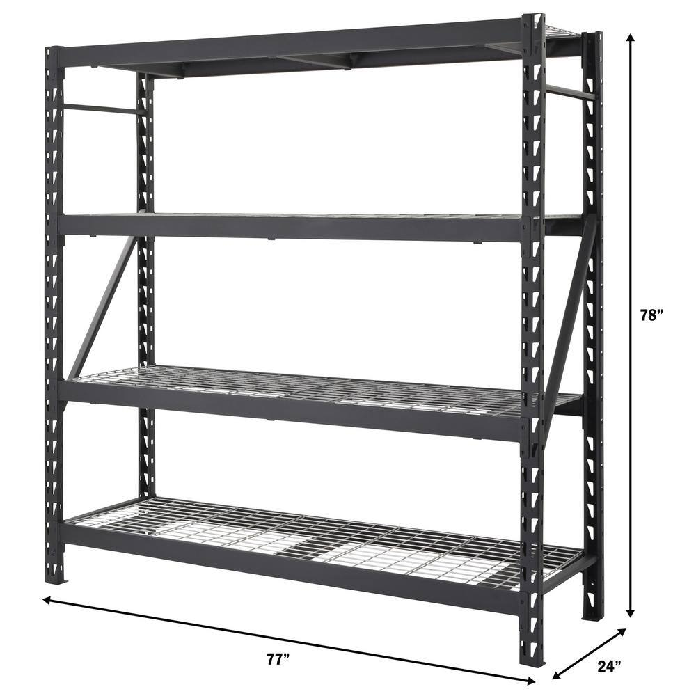Black 4-Tier Heavy Duty Welded Steel Garage Storage Shelving Unit (77 in. W x 78 in. H x 24 in. D) $168.99