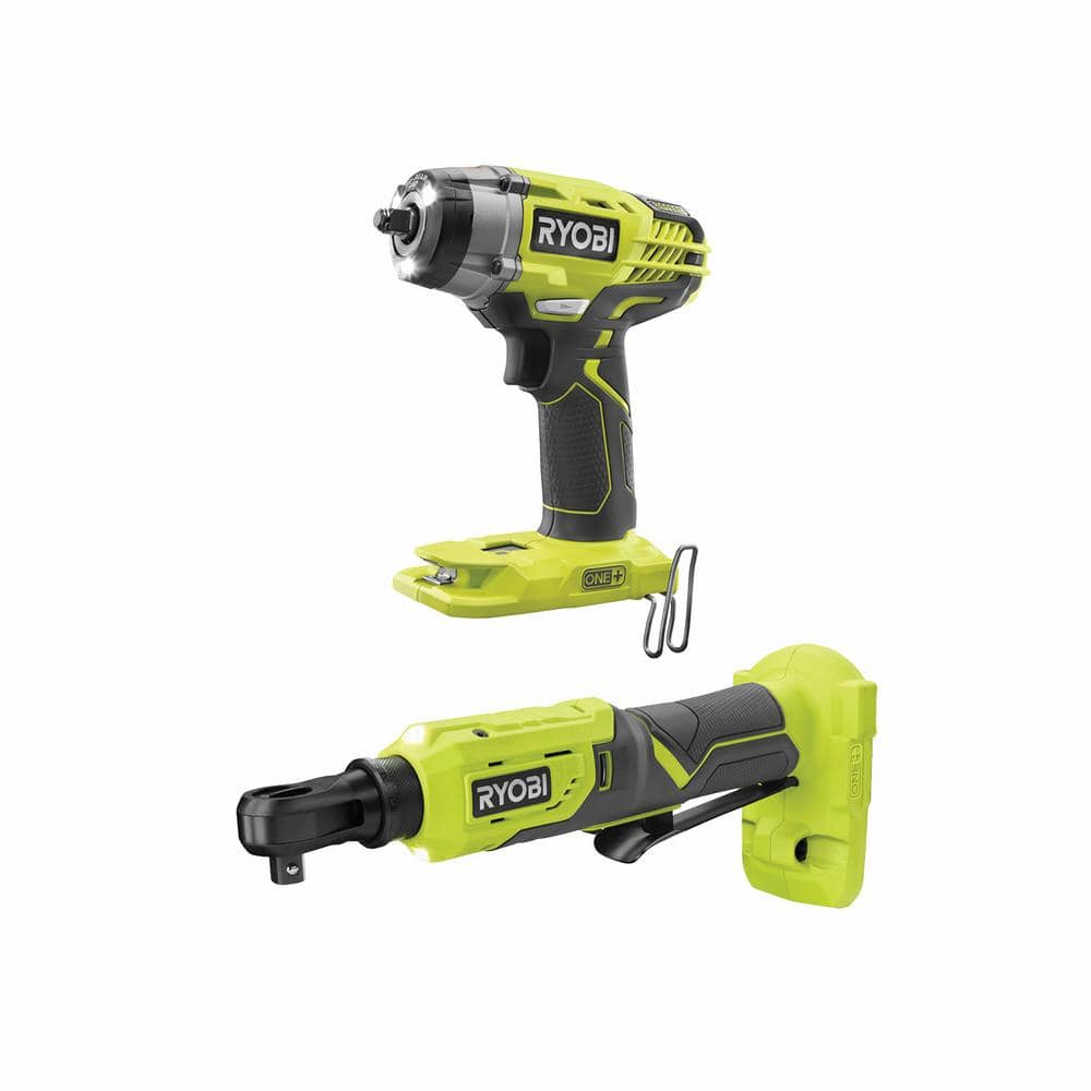 RYOBI ONE+ 18V Cordless 3/8 in. 3-Speed Impact Wrench and 3/8 in. 4-Position Ratchet Kit (Tools Only)-P263344 - The Home Depot $129