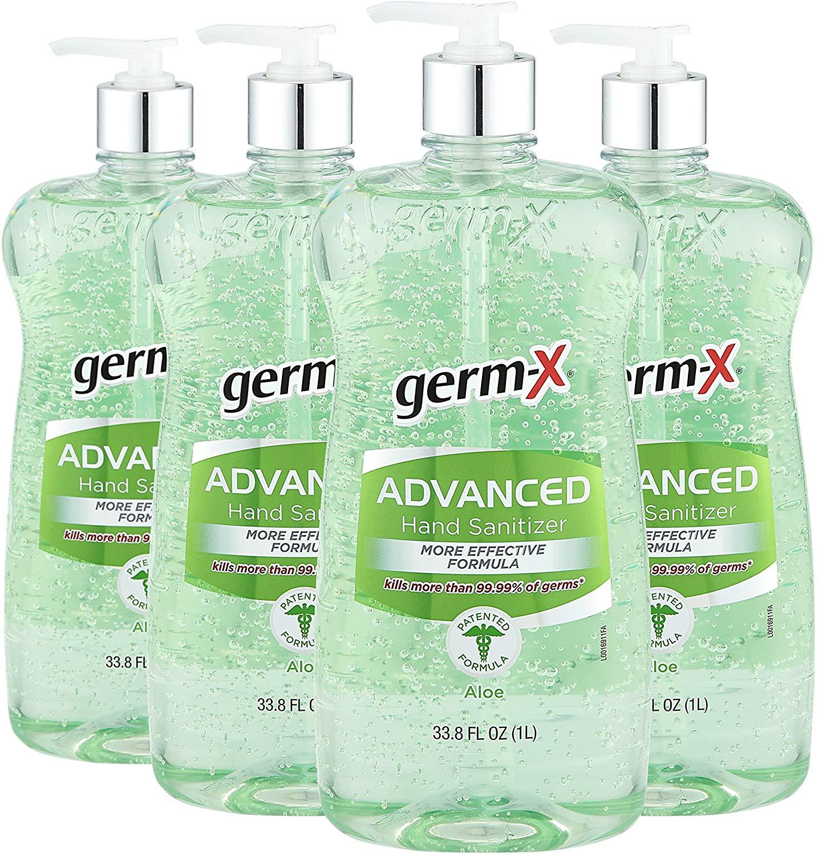 Germ-X Advanced Hand Sanitizer, Aloe, Pump Bottle, 33.80 Fluid Ounce (Pack of 4) $14.89