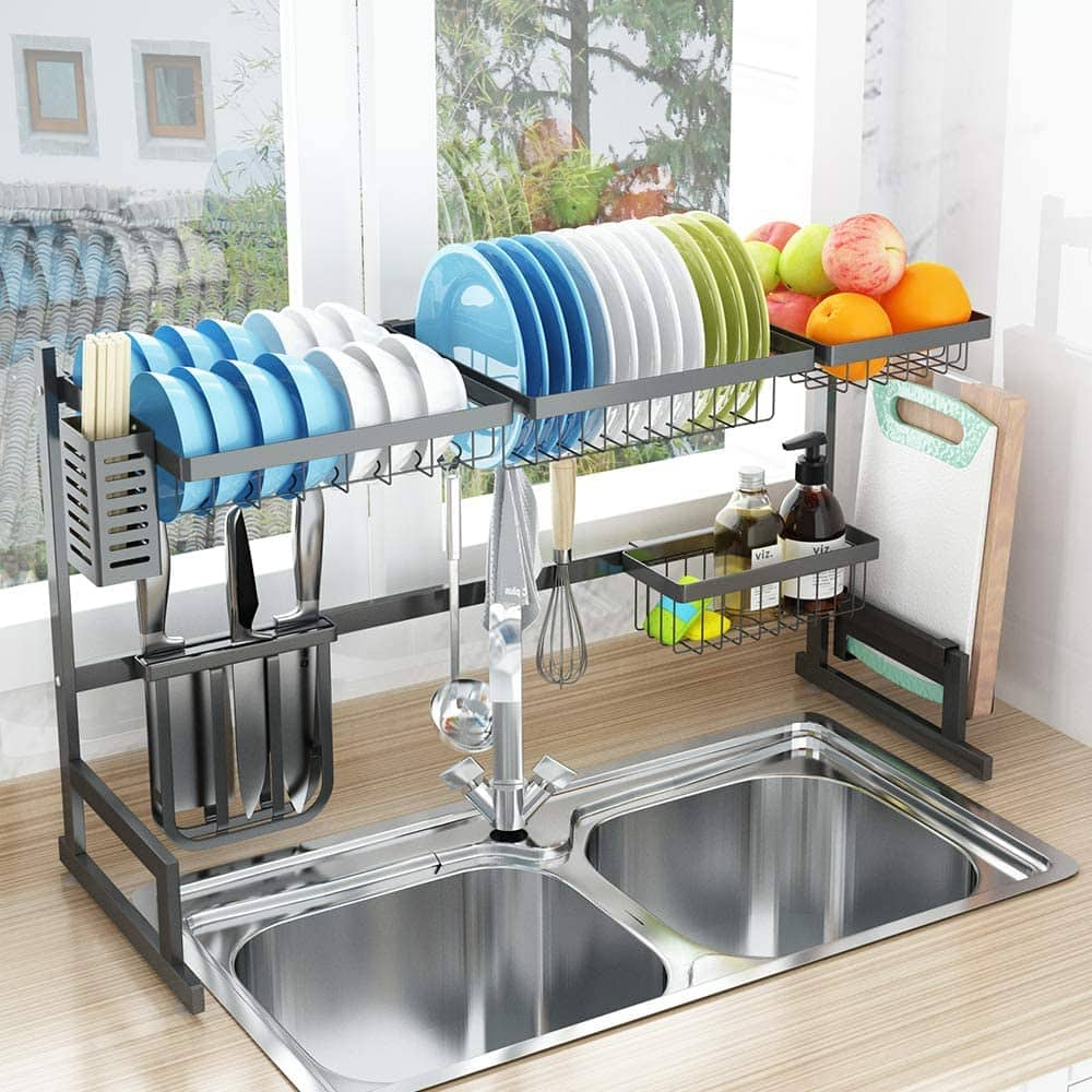 Dish Drying Rack Over Sink Drainer Shelf For Kitchen Supplies Storage Counter Organizer Utensils Holder Stainless