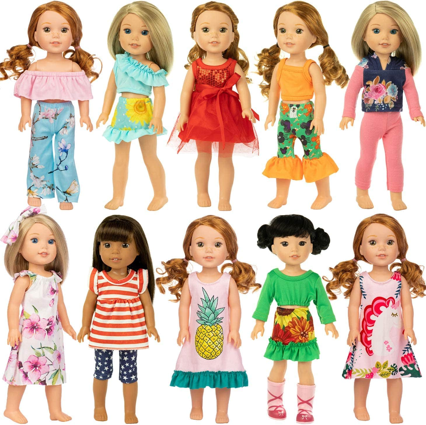 ZITA ELEMENT 10 Complete Sets Fashion Handmade American 14.5 Inch Girl Wellie Doll Casual Wear Clothes and Party Dress $20.99
