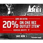 REI-Outlet: Extra 20% Off One Item. 8/28 - 9/7