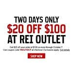 Rei-Outlet: $20 Off $100 *10/6-10/7*