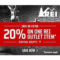 REI Deal: REI-Outlet: Extra 20% Off One Item. 8/28 - 9/7