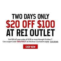 REI Deal: Rei-Outlet: $20 Off $100 *10/6-10/7*