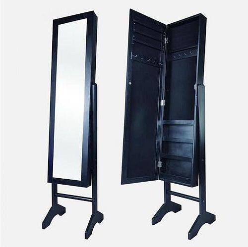 Mirrored Jewelry Cabinet Armoire Stand Mirror Rings Necklaces Y60 - $57.99