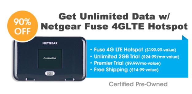 $19.99 - Get Unlimited Data w/ Netgear Fuse 4G LTE Mobile Hotspot - FreedomPop
