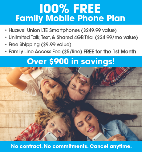 FreedomPop Free Family Mobile Phone Plan + FREE Shared 4GB Trial + Free Line Access Fee (first month) + 4 Huawei Union - $119.96