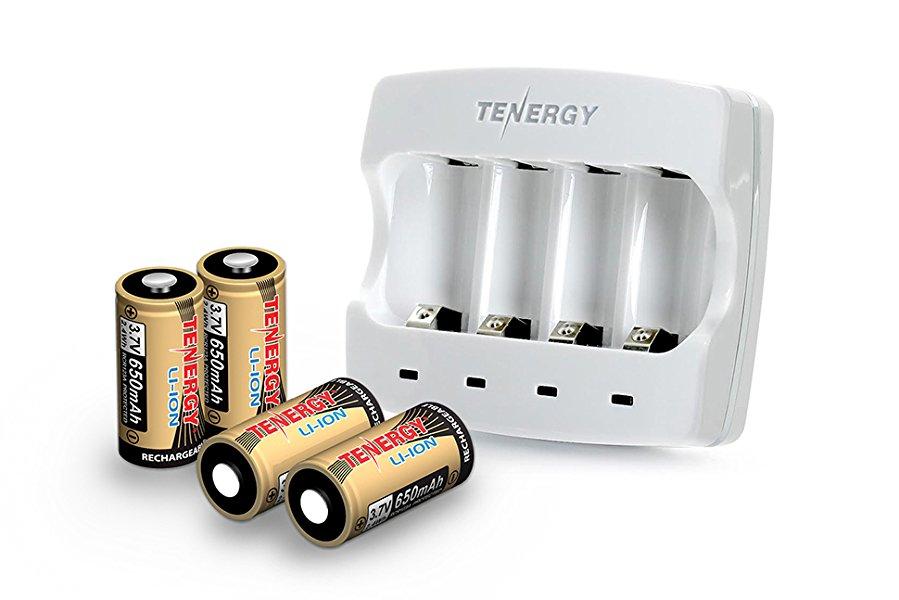Tenergy Battery Charger + 4 Pack 3.7V 650mAh RCR123A Li-ion ($39.96) / Tenergy 3.7V Li-ion Rechargeable Battery for Arlo Security Cameras ($23.99)
