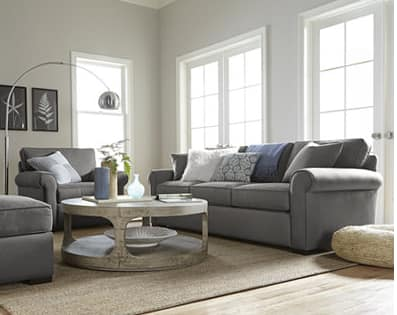 Macy's - $499 Astra Fabric Sofa, $499 Tribeca Grey Storage Queen Bed, $499 - 2 x Edie Fabric Pushback Recliner