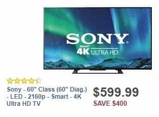 "Best Buy Weekly Ad: Sony - 60"" Class (60"" Diag.) - LED - 2160p - Smart - 4K Ultra HD TV for $599.99"