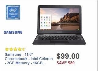 "Best Buy Weekly Ad: Samsung - 11.6"" Chromebook - Intel Celeron - 2GB Memory - 16GB eMMC Flash Memory - Black for $99.00"
