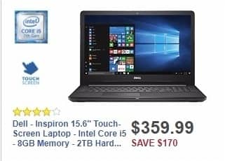 """Best Buy Weekly Ad: Dell - Inspiron 15.6"""" Touch-Screen Laptop - Intel Core i5 - 8GB Memory - 2TB Hard Drive - Black for $359.99"""