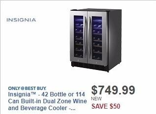 Best Buy Weekly Ad: Insignia™ - 42 Bottle or 114 Can Built-in Dual Zone Wine and Beverage Cooler - Stainless steel for $749.99