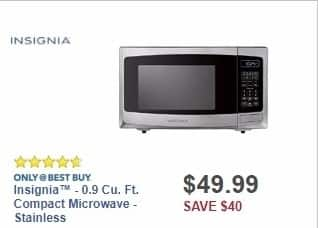 Best Buy Weekly Ad: Insignia™ - 0.9 Cu. Ft. Compact Microwave - Stainless for $49.99