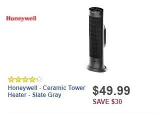 Best Buy Weekly Ad: Honeywell - Ceramic Tower Heater - Slate Gray for $49.99