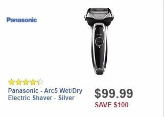 Best Buy Weekly Ad: Panasonic - Arc5 Wet/Dry Electric Shaver - Silver for $99.99